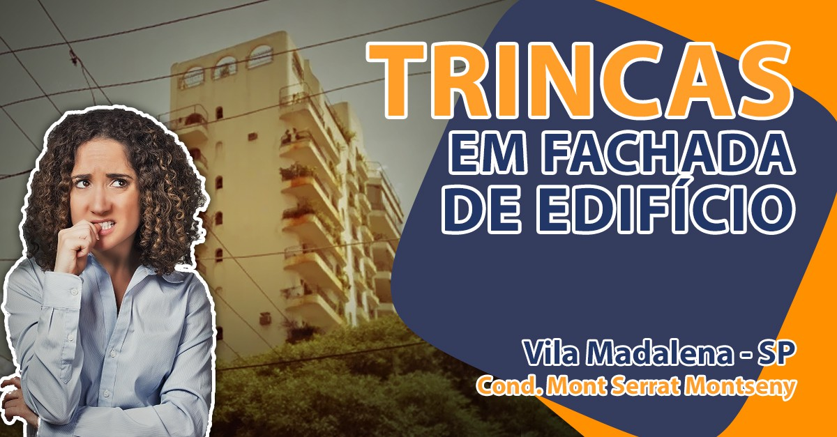 Trincas em fachada de edifício na Vila Madalena - SP